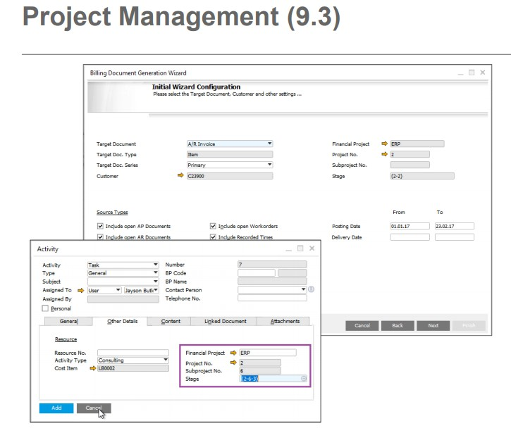 Project Management en SAP Business One 9.3