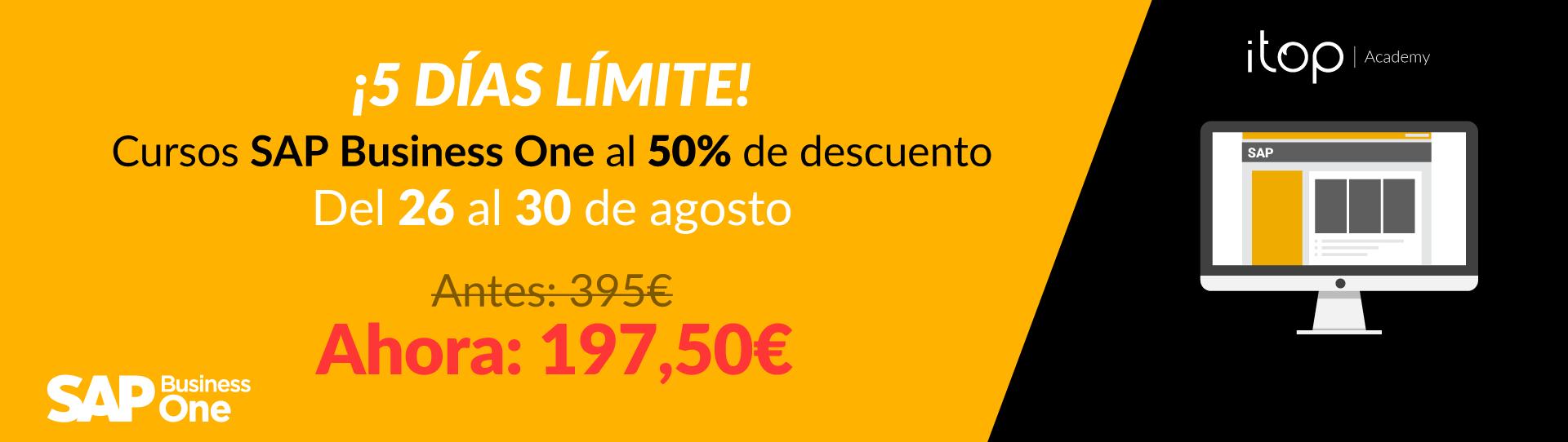 ¡¡¡Volvemos a lanzar los 5 DÍAS LÍMITE!!! 50% de Descuento en TODOS los Cursos de SAP Business One